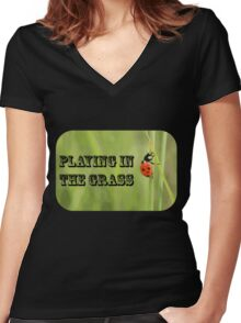 Playing in the Grass Women's Fitted V-Neck T-Shirt