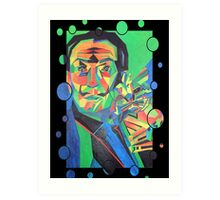 Salvador Dali with Ocelot and Cane Art Print