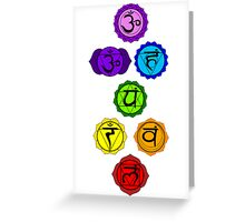 Yoga Reiki seven chakras symbols vertical template Greeting Card