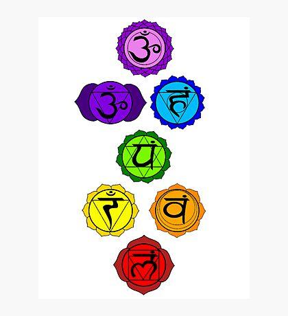 Yoga Reiki seven chakras symbols vertical template Photographic Print