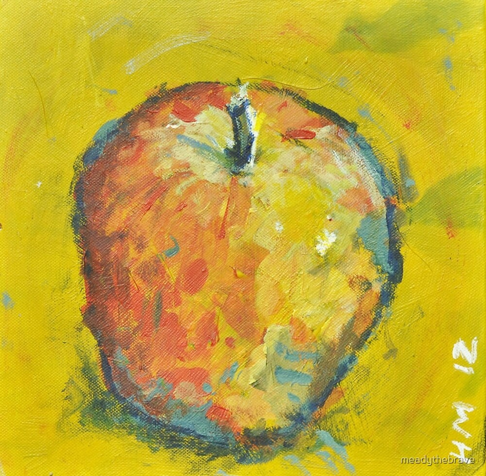 Apple on Yellow by meadythebrave