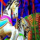 Carousel Horsey Racing by Jean Gregory  Evans