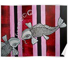 2 Koi Fish In Love Poster