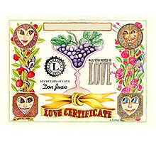 Love Certificate Photographic Print