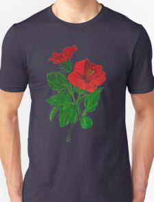 A Red Hibiscus Flower Isolated On White Background T-Shirt