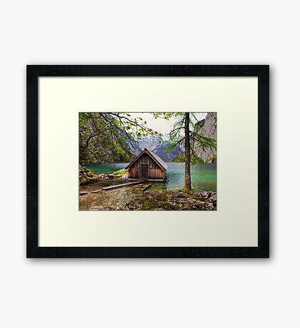 Framed boathouse Framed Print