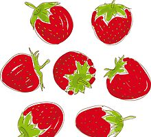 strawberries on white background by EkaterinaP