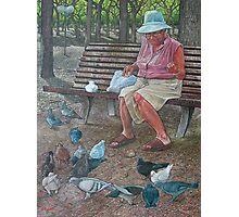 Pigeon feeder Photographic Print