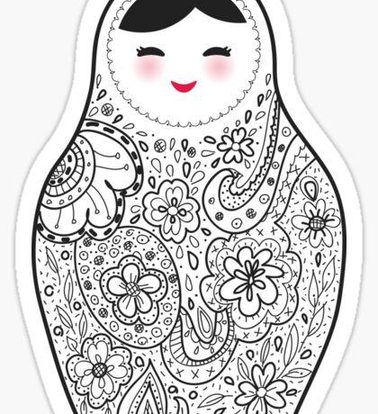 Cute doll matrioshka Babushka on black background Sticker