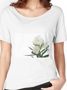 White Oleander Flowers Close Up Isolated On White Background  Women's Relaxed Fit T-Shirt