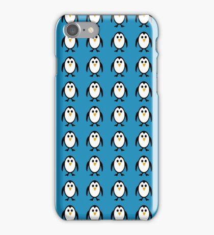 Penguin Pattern on Blue Background iPhone Case/Skin