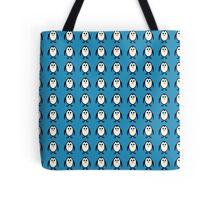 Penguin Pattern on Blue Background Tote Bag