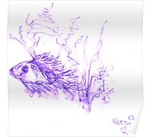 Inkpen on Paper Violet Fish Poster