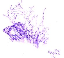 Inkpen on Paper Violet Fish Photographic Print