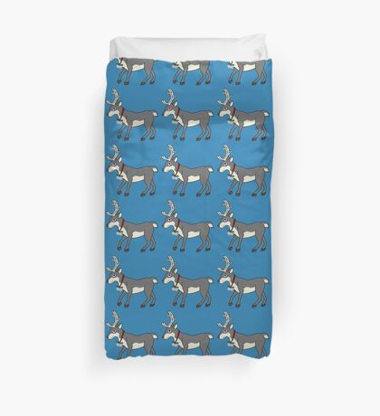 Gray Reindeer with Silver Christmas Jingle Bells Duvet Cover