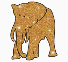 Elephant in Sparkly Gold Faux Glitter Baby Tee