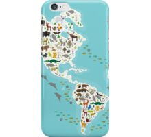 Cartoon animal world map for children iPhone Case/Skin