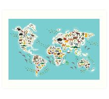 Cartoon animal world map for children Art Print