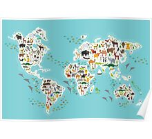 Cartoon animal world map for children Poster