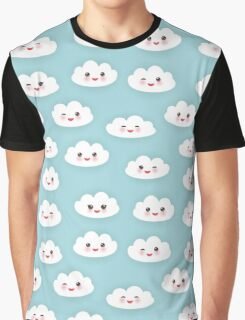 Kawaii funny white clouds Graphic T-Shirt