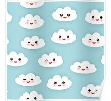Kawaii funny white clouds Poster