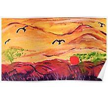 Cloudy landscape, watercolor Poster