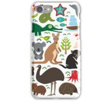 Australia: koala, snake, turtle, crocodile, kangaroo, dingo iPhone Case/Skin