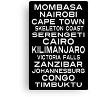 Africa Destination Subway Sign Art Canvas Print