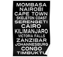 Africa Destination Subway Sign Art Poster