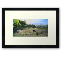 Grazing in the tall grass Framed Print