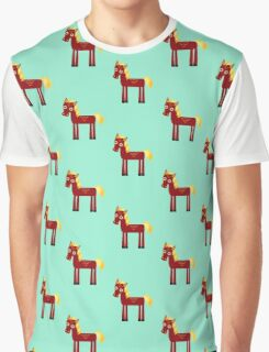 Brown horse on blue floral background Graphic T-Shirt