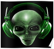 Alien Headphones Poster