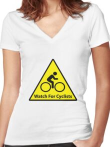 Watch For Cyclists Women's Fitted V-Neck T-Shirt
