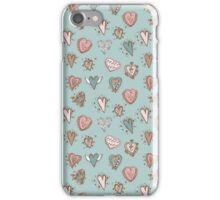 pattern with hearts. Blue, pink, brown iPhone Case/Skin