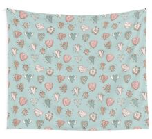 pattern with hearts. Blue, pink, brown Wall Tapestry