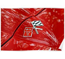 Corvette Flags on Red Poster