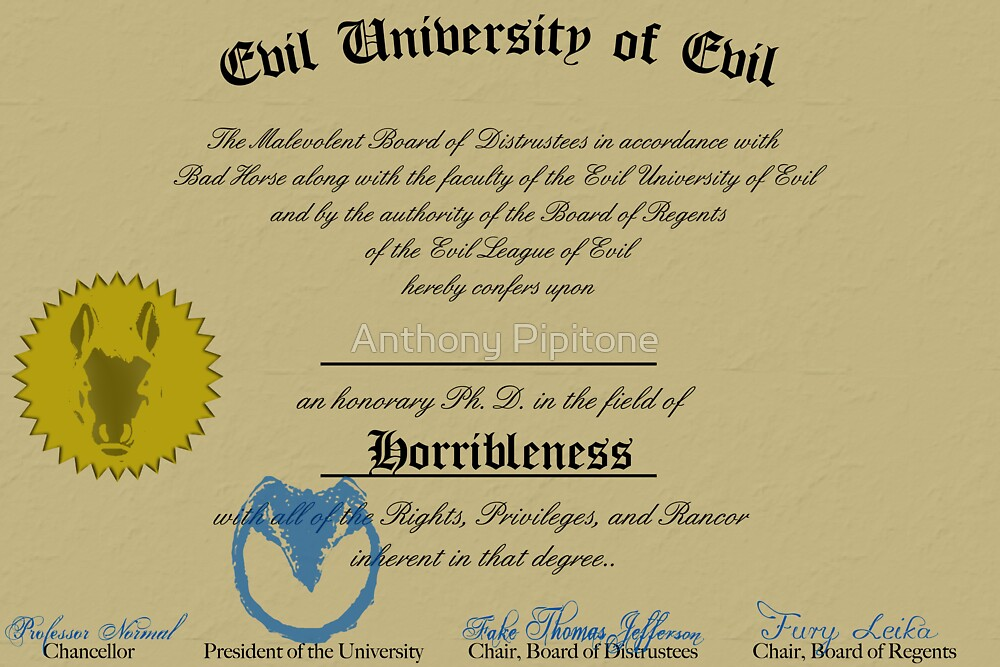 A Ph. D. in Horribleness! by Anthony Pipitone