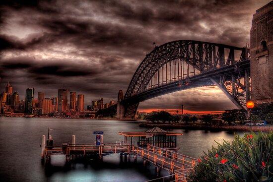 Sunset Sydney Harbour Bridge- VIVID Festival  by Andrew  MCKENZIE