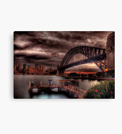 Sunset Sydney Harbour Bridge- VIVID Festival  Canvas Print