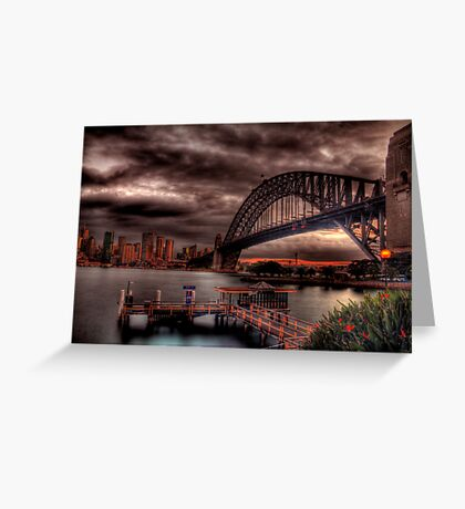 Sunset Sydney Harbour Bridge- VIVID Festival  Greeting Card