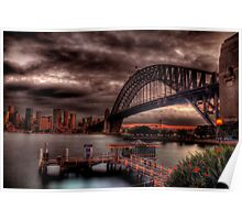 Sunset Sydney Harbour Bridge- VIVID Festival  Poster