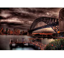 Sunset Sydney Harbour Bridge- VIVID Festival  Photographic Print