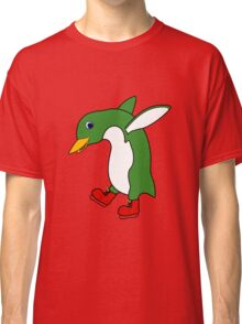 Christmas Green Penguin with Silver Ice Skates Classic T-Shirt