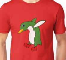 Christmas Green Penguin with Silver Ice Skates Unisex T-Shirt