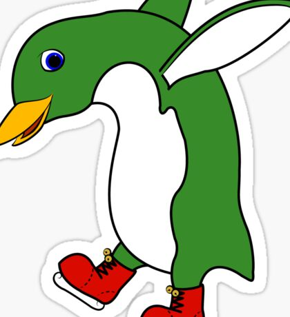 Christmas Green Penguin with Silver Ice Skates Sticker
