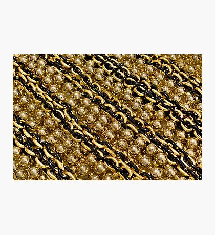 Black and Gold Chain Beads Photographic Print