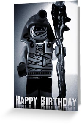 Happy Birthday Greeting Card Pharoah's Quest Mummy with Gold Head Gear with Custom LEGO® Magical Jewelled Staff, by 'Customize My Minifig' by Chillee