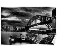 Sydney Harbour Bridge HDR B&W Poster