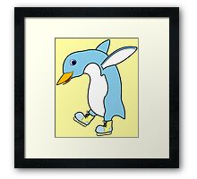 Christmas Light Blue Penguin with Yellow Ice Skates Framed Print