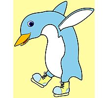Christmas Light Blue Penguin with Yellow Ice Skates Photographic Print